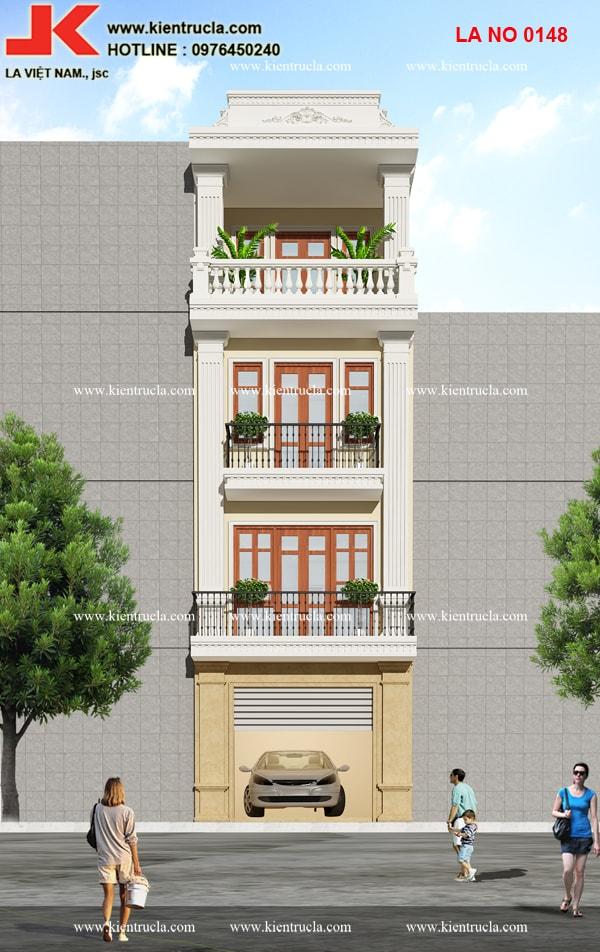 nhà phố 4 tầng cổ điển siêu đẹp