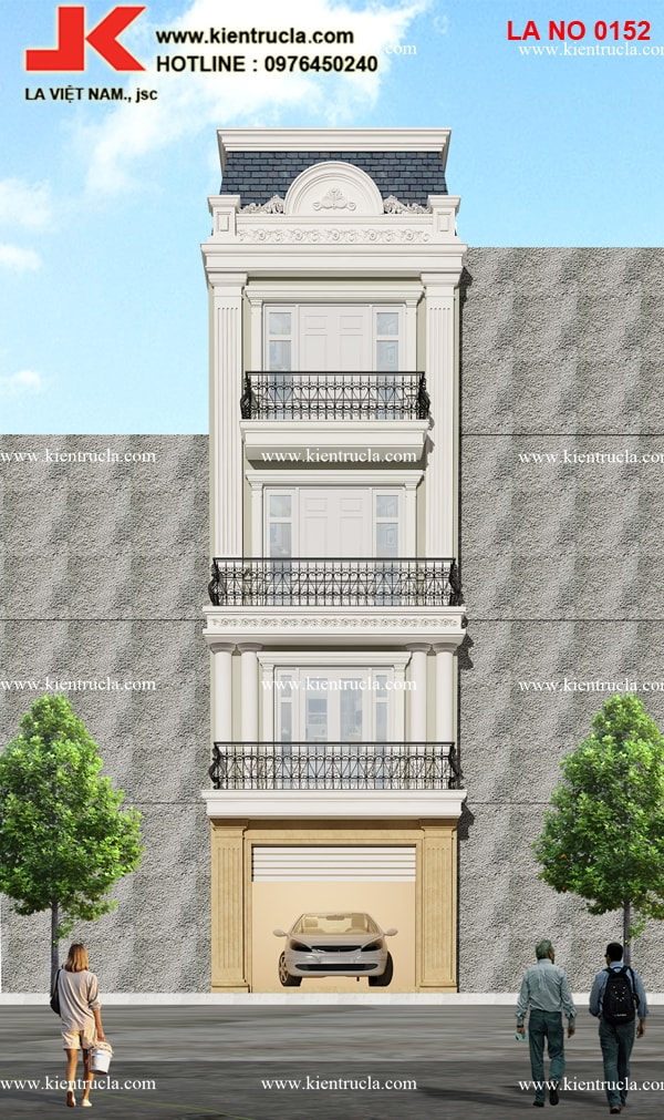 nhà phố 4 tầng cổ điển