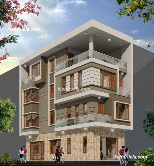 mẫu nhà phố 4 tầng 2 mặt tiền hiện đại
