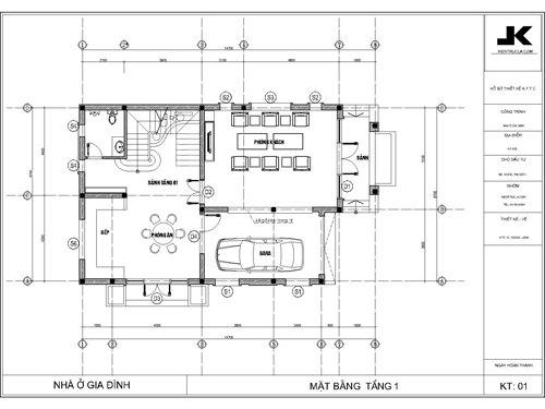 mặt bằng biệt thự 3 tầng hiện đại mb04