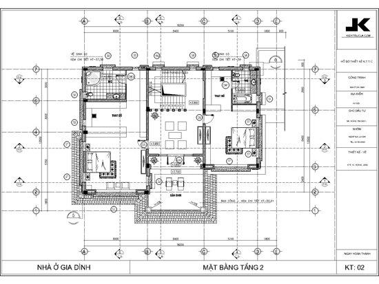mặt bằng biệt thự 3 tầng đẹp mb02