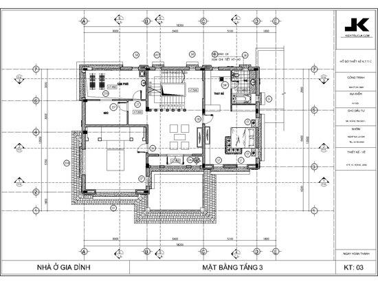 mặt bằng biệt thự 3 tầng đẹp mb03