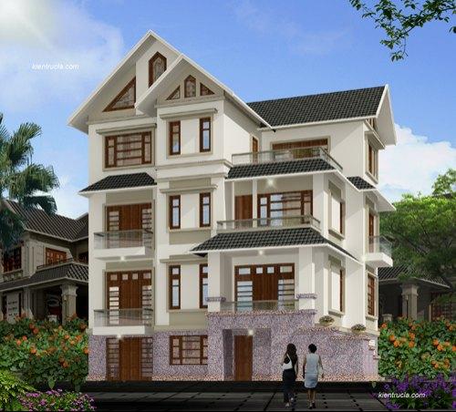 Thiết kế biệt thự 4 tầng hiện đại nhà Ông Trường