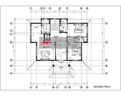 mặt bằng biệt thự 3 tầng cổ điển bt22