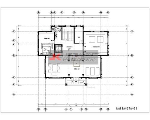 mặt bằng biệt thự 3 tầng cổ điển bt23