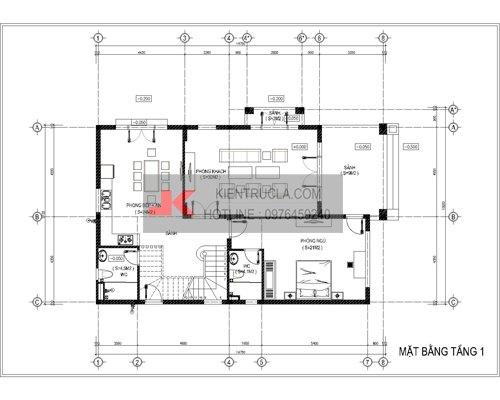 mặt bằng biệt thự 3 tầng hiện đại bt57