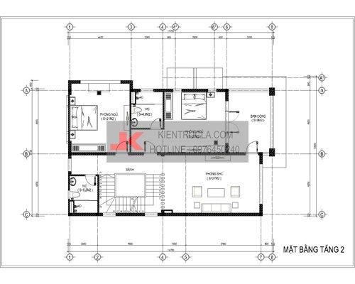 mặt bằng biệt thự 3 tầng hiện đại bt58