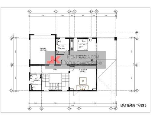 mặt bằng biệt thự 3 tầng hiện đại bt59