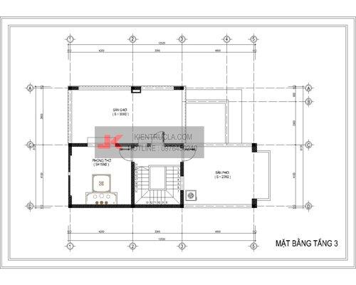 mặt bằng biệt thự 3 tầng - bt12