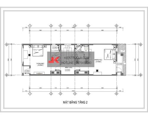 mặt bằng nhà phố 4 tầng hiện đại no02