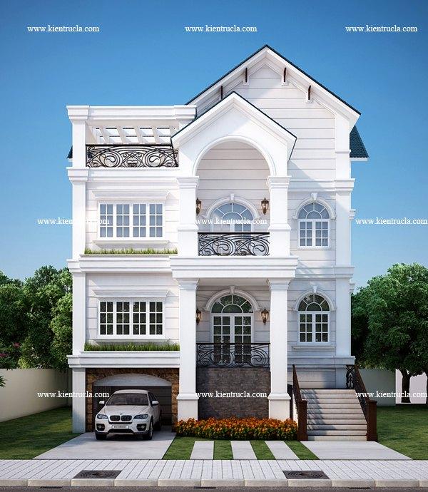 thiết kế biệt thự 4 tầng cổ điển bt108
