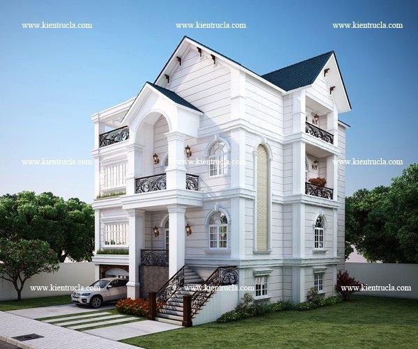 thiết kế biệt thự 4 tầng cổ điển bt108b
