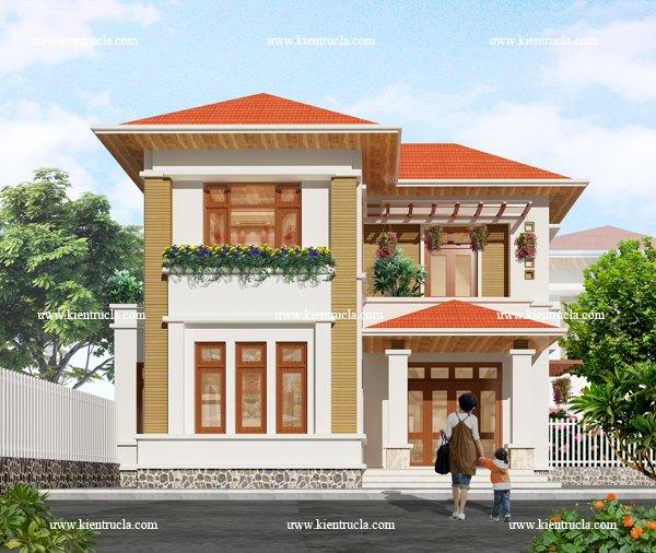 thiết kế nhà vườn 2 tầng hiện đại bt101b